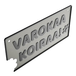 HJV Varokaa Koiraa Sign 2H Hopea Musta